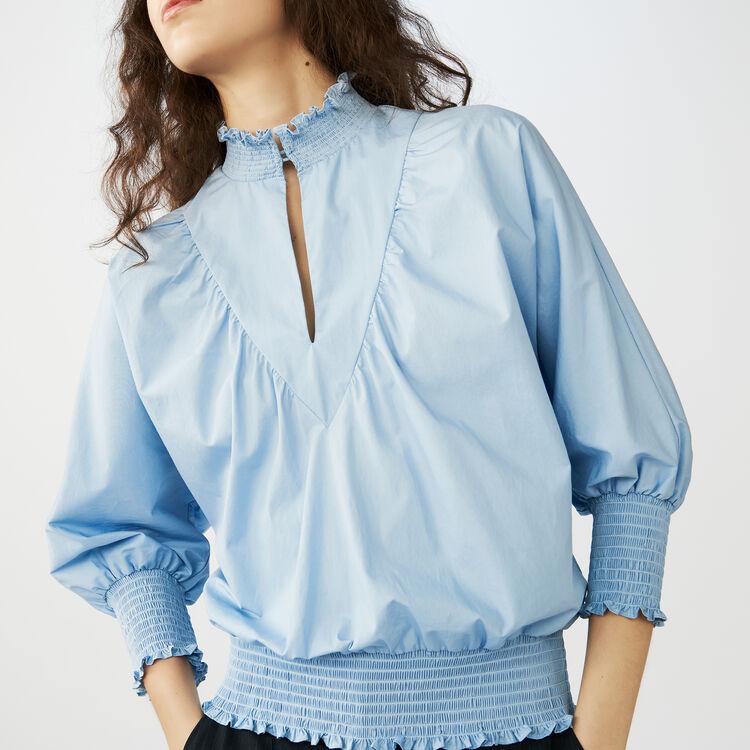 마쥬 리보우 전지현, 한혜진 착용 블라우스 화이트, 블루 MAJE LIBOU - Blouse en popeline de coton avec smocks - Tops