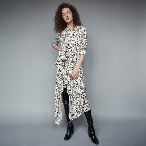 마쥬 원피스 MAJE 119ROSA Robe asymetrique en jacquard imprime,Blanc
