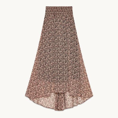 Jupe longue asymétrique imprimée - Jupes & Shorts - MAJE