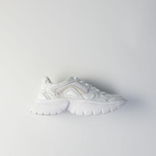 마쥬 W20 스니커즈 MAJE 119 FASTER Sneakers W20 urbaines en cuir,Blanc