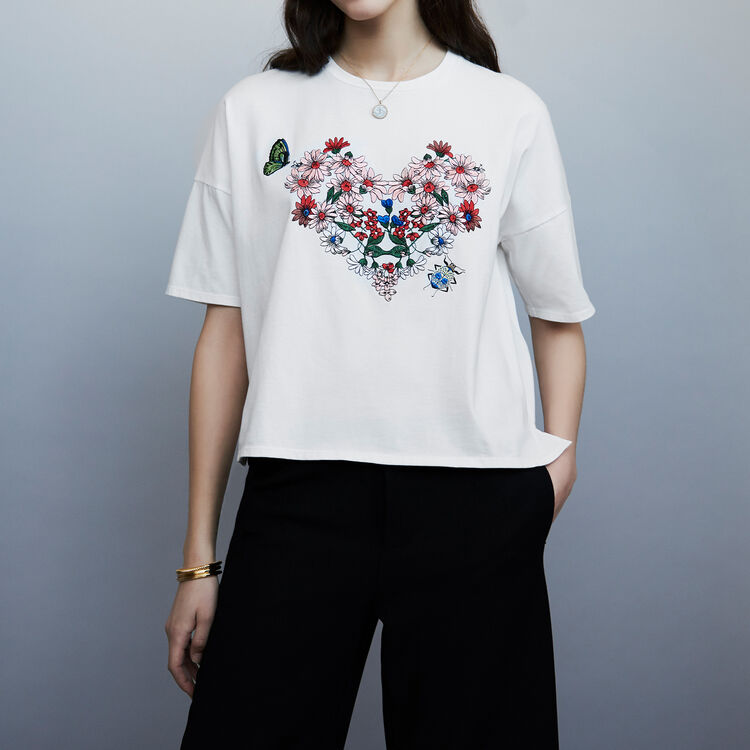 마쥬 타마 꽃 자수 반팔 티셔츠 MAJE TAMA - Tee-shirt en coton avec broderies - T-Shirts