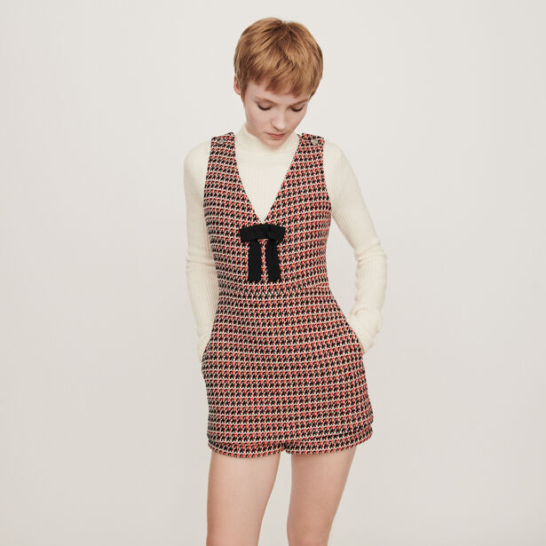마쥬 MAJE 119IROMA Combinaison-short facon tweed,Rouge