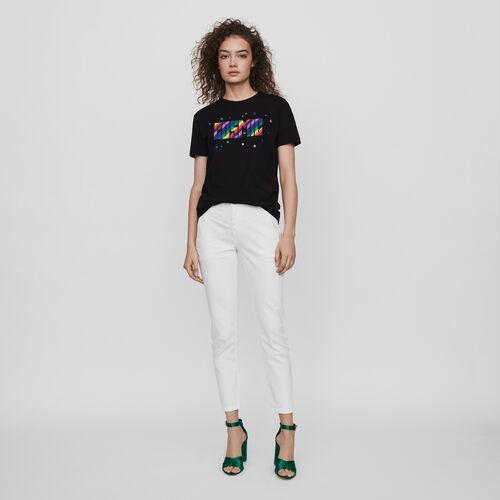 마쥬 MAJE 119TERENCE Tee-shirt brode,Noir