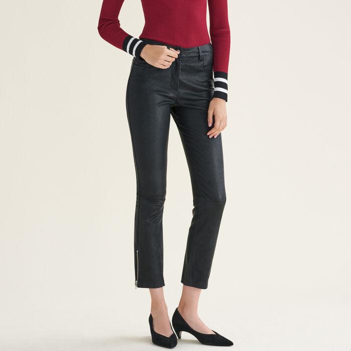 Pantalon en cuir à détails zippés - Pantalons - MAJE