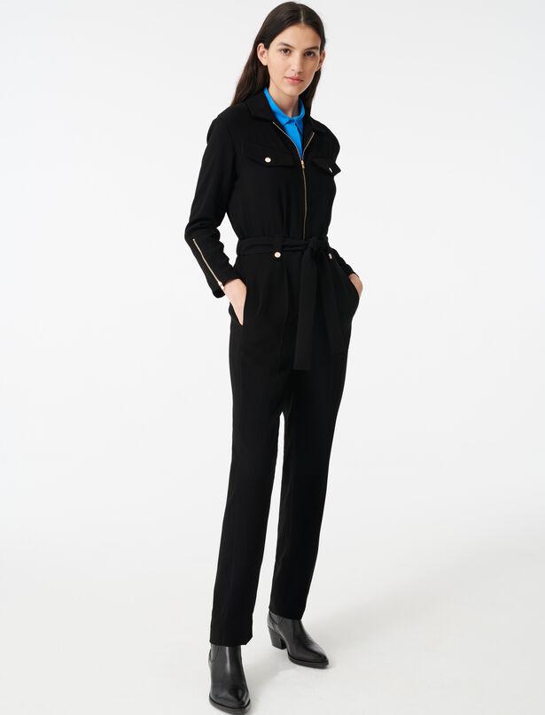 마쥬 점프수트 MAJE 220PAPRITERA Combinaison pantalon en crepe zippee,Noir