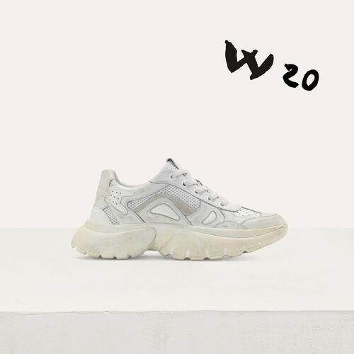 마쥬 W20 어반 스니커즈 어글리 슈즈 화이트 MAJE 9FASTERUS Sneakers W20 urbaines en cuir effet use,Blanc