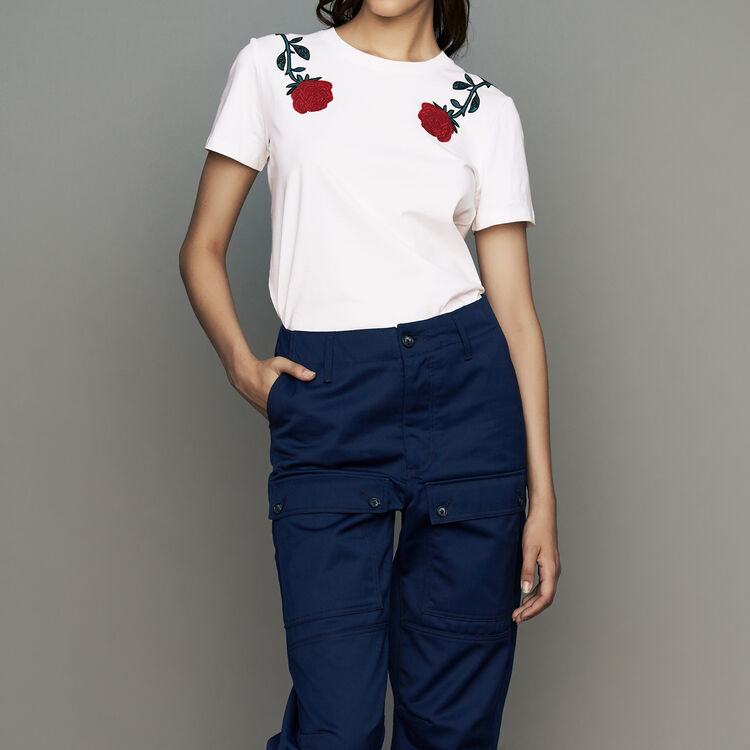 마쥬 MAJE THEOPHILE Tee-shirt en coton avec broderies,Blanc