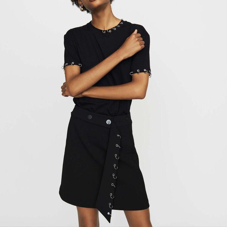마쥬 MAJE TOULONA Tee-shirt en coton avec oeillets,Black