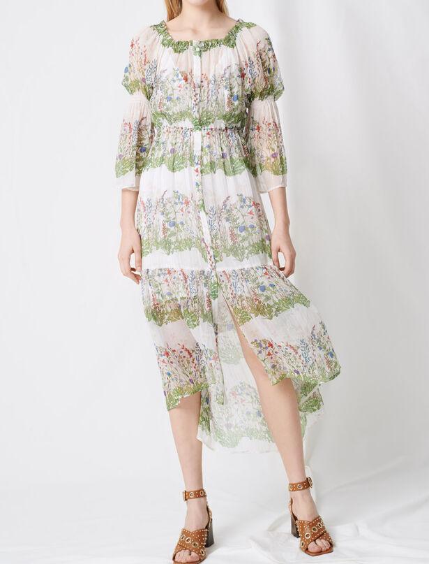 마쥬 실크 플로럴 패턴 롱 원피스 MAJE 220RUISSEAU Robe longue en soie imprimee,Ecru/Vert