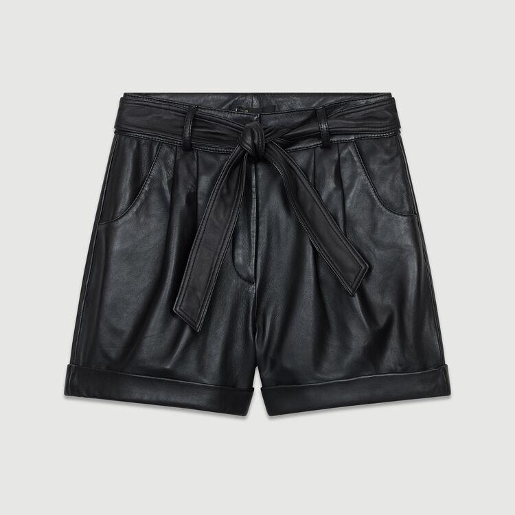 마쥬 숏 반바지 MAJE IBORD Short large en cuir,Black