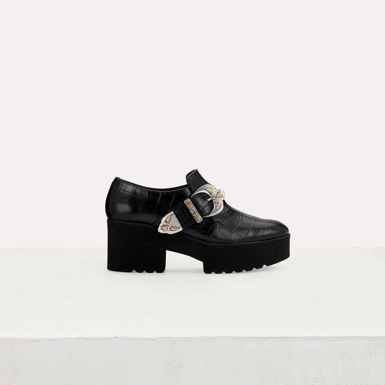 마쥬 MAJE FRANTZO Derbys plateforme en cuir,Black