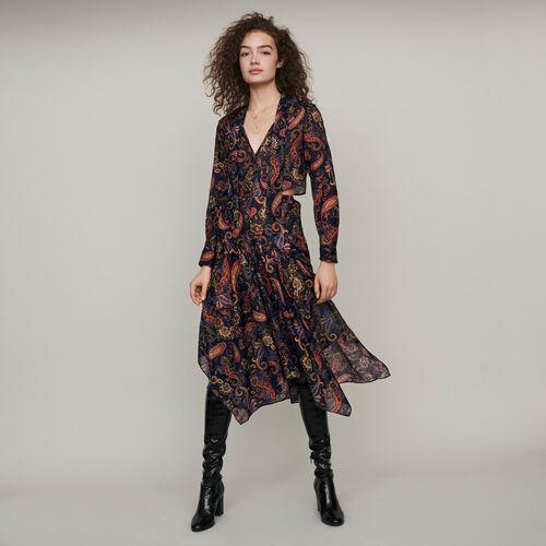 마쥬 원피스 MAJE 119RISTA Robe-foulard en coton imprime,Marine