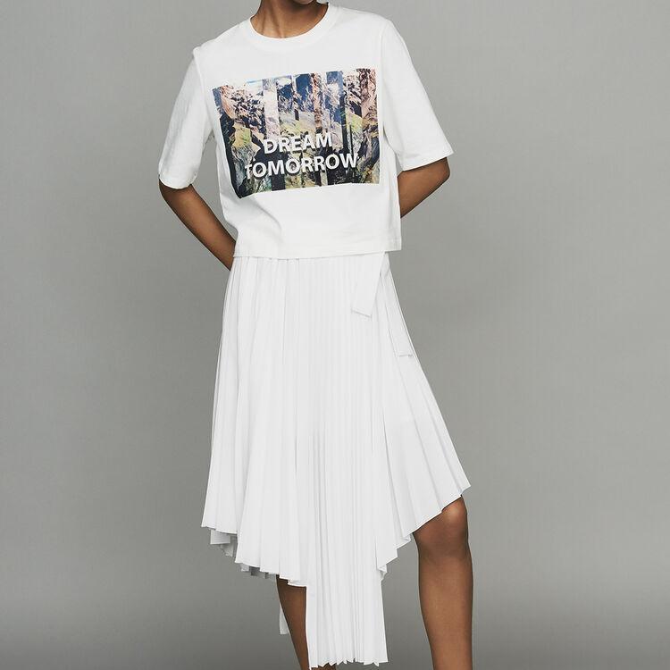 마쥬 MAJE TALWEG Tee-shirt court imprime,Blanc