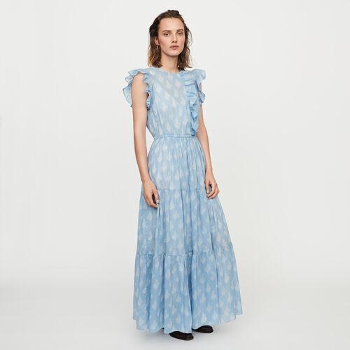 마쥬 MAJE ROSES Robe longue imprimee A volants,Bleu