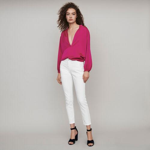마쥬 블라우스 MAJE 119POESIE Jean droit A poches et decoupes,White