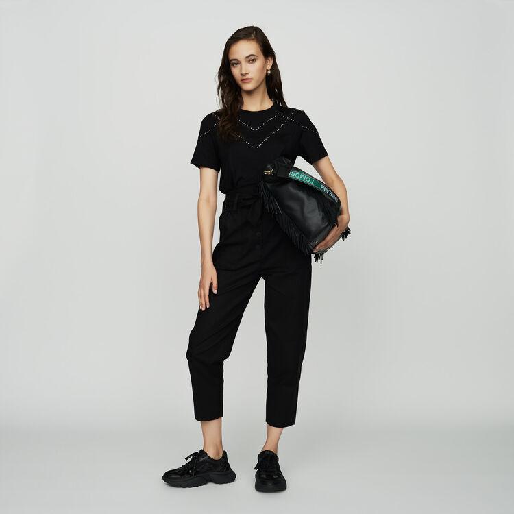 마쥬 TABLOID 라운드넥 루즈핏 반팔 티셔츠 MAJE TABLOID Tee-shirt loose avec studs,Black