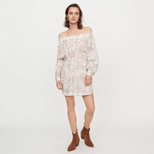 마쥬 MAJE RAGTIME Robe smockee en voile de coton imprime,Rose
