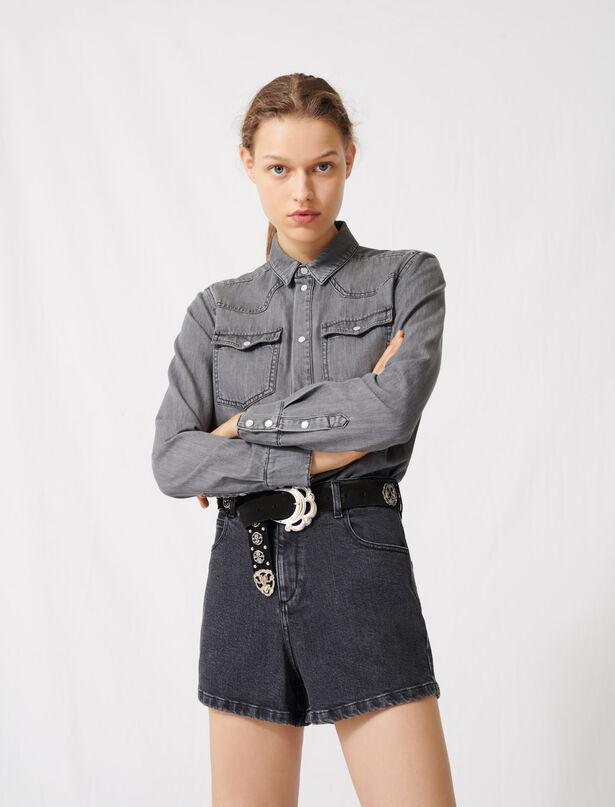 마쥬 투인원 데님 점프수트 MAJE 220ISAC Combishort effet trompe-l'OEil en jean, Noir