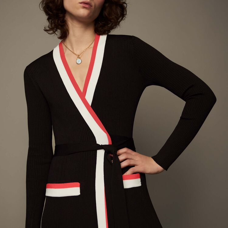 마쥬 ROSIANA 유인영 착용 롱 니트 랩 원피스  MAJE ROSIANA - Robe longue portefeuille en maille - Robes