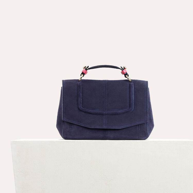 Sac mini-cartable en daim bicolore - Sacs porté épaule - MAJE