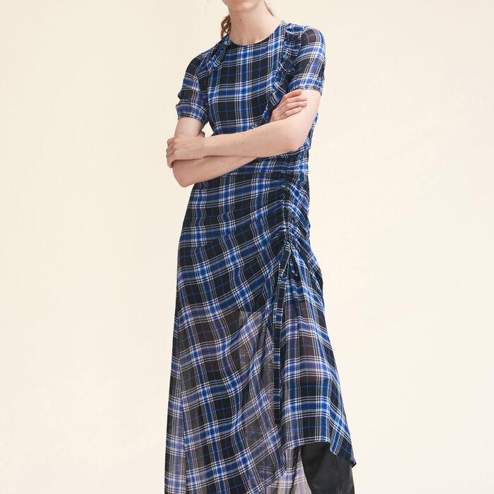 Robe longue à carreaux - Robes - MAJE