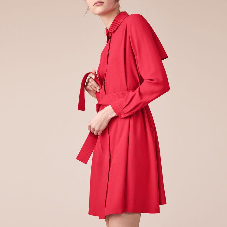 Robe chemise en crêpe - Robes - MAJE
