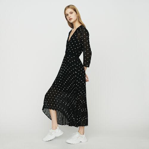 마쥬 MAJE RIVOLIO Robe longue plissee avec broderies,BLACK