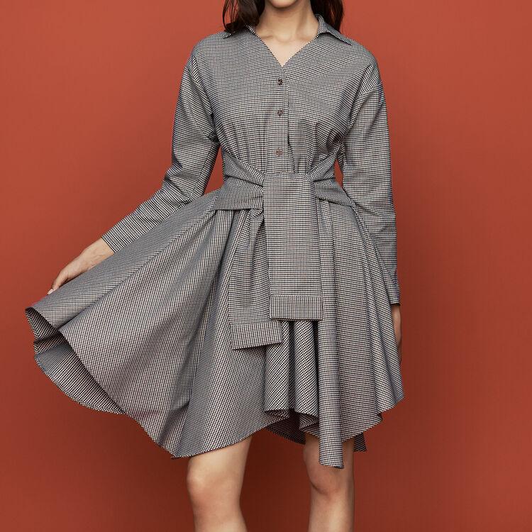 마쥬 체크 셔츠 원피스 MAJE RULYTA Robe-chemise a imprime pied-de-coq,CARREAUX