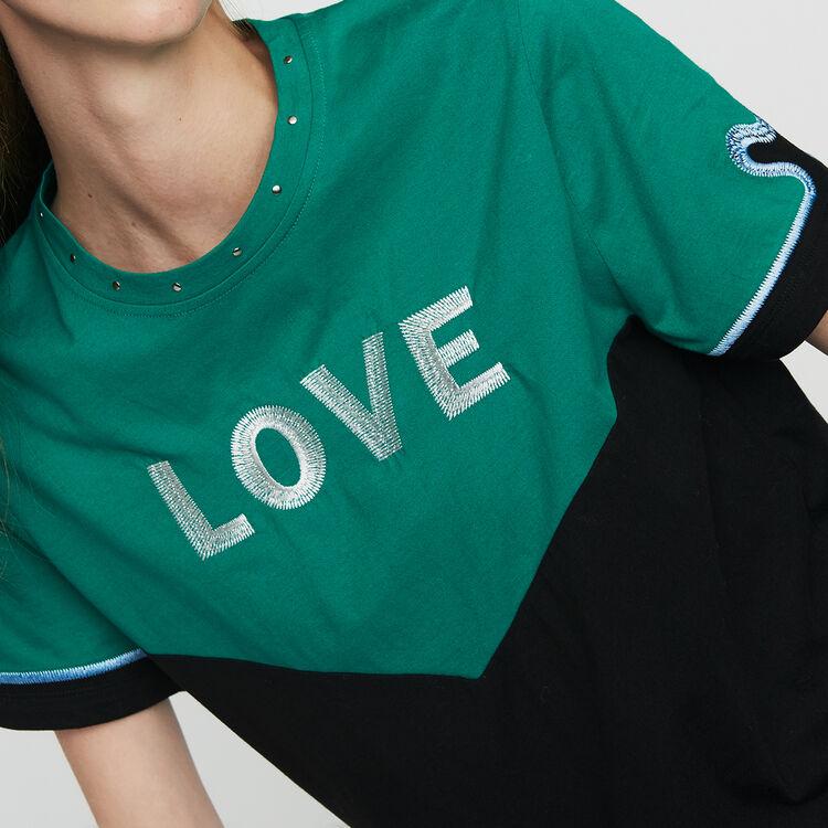 마쥬 MAJE TOEVI Tee-shirt bicolore avec broderie,MULTICO
