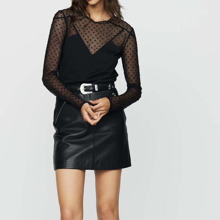 마쥬 MAJE TRIBADOR Tee-shirt en coton et plumetis,Black