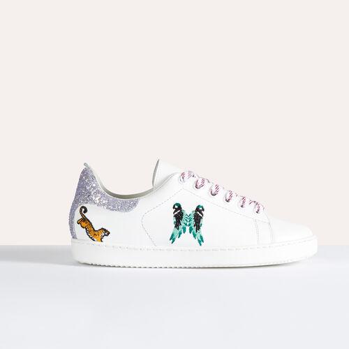 Baskets en cuir avec broderies - Chaussures - MAJE