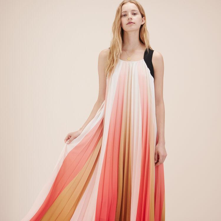 Robe longue plissée multicolore - Robes - MAJE