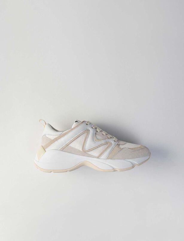마쥬 W22스니커즈 MAJE Sneakers  en mix matieres,Off White
