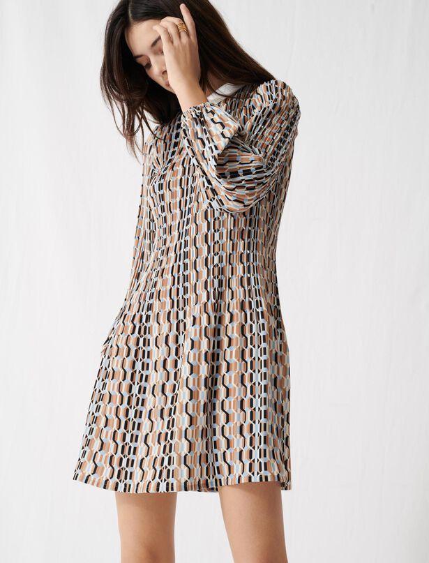 마쥬 패턴 주름 원피스 MAJE 220ROCKILANA Robe en plisse imprime et col Claudine,Bleu Ciel