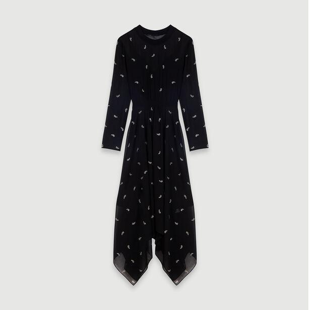 마쥬 원피스 MAJE 119RABILO Robe-foulard A strass motif cachemire,Noir