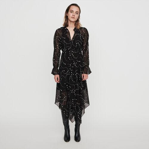 마쥬 원피스  MAJE 119RETRO Robe-foulard en mousseline imprimee,Noir