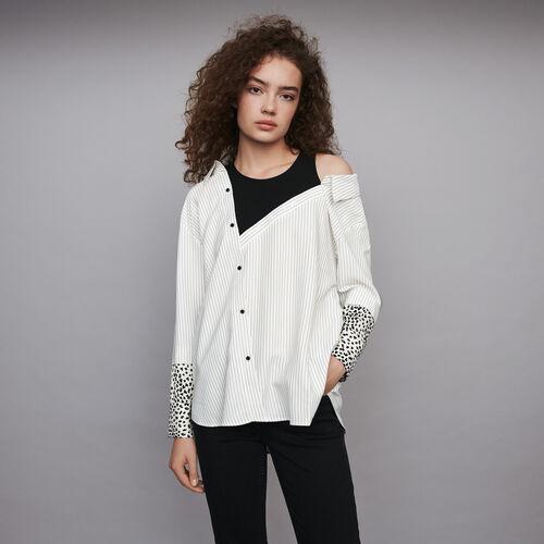 마쥬 스트라이프 셔츠 MAJE 119LAMELIA Top trompe-l'OEil raye,Blanc/Noir