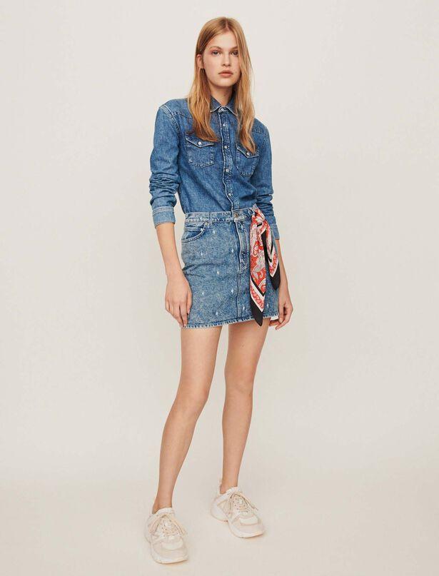 마쥬 워싱 청 원피스 MAJE 119RIMEL Robe chemise effet trompe l,Bleu