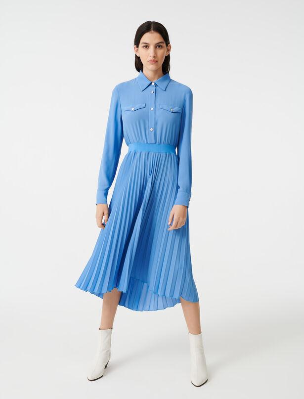 마쥬 플리츠 롱 셔츠 원피스 MAJE 220ROSANA Robe facon chemise A taille froncee,Bleu Clair