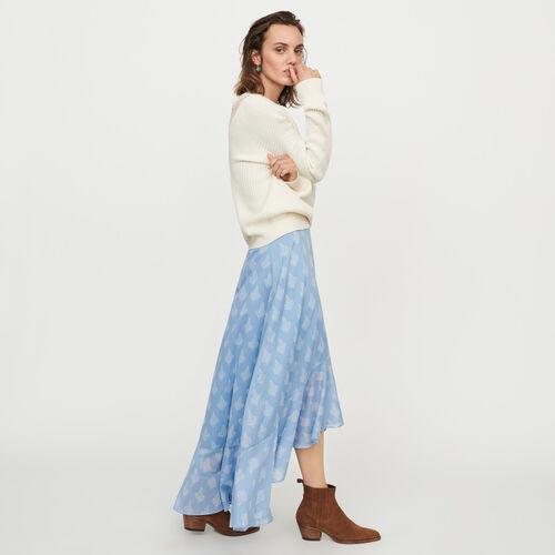 마쥬 롱 치마 MAJE JOTA Jupe longue imprimee avec volants,Bleu