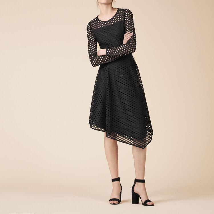 Robe longue asymétrique en dentelle - Robes - MAJE