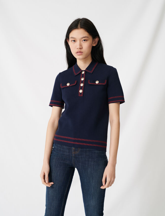 Pull à manches courtes style polo -  - MAJE