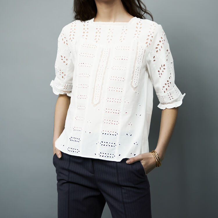 Top en coton brodé : Tops couleur Blanc