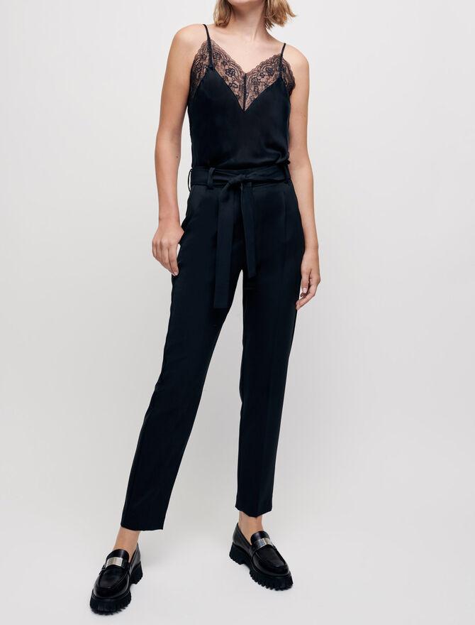 Pantalon carotte avec ceinture - Pantalons & Jeans - MAJE