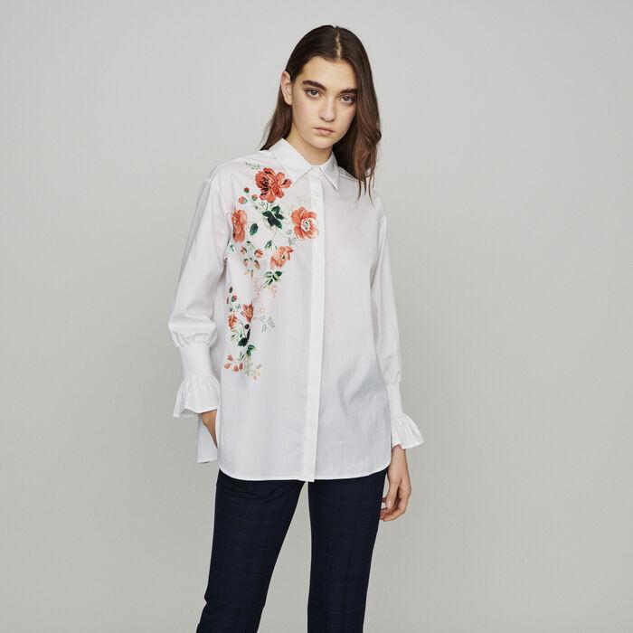 Chemise avec impression florale : Tops & Chemises couleur BLANC