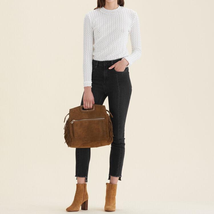 Jean droit avec bas asymétrique : Pantalons & Jeans couleur Black