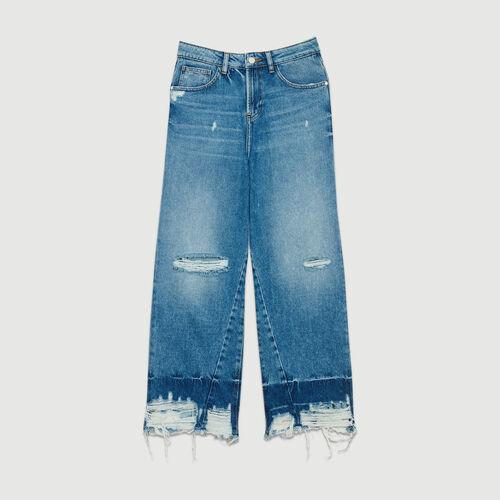 Jean large avec détails usés : Jeans couleur BLEU