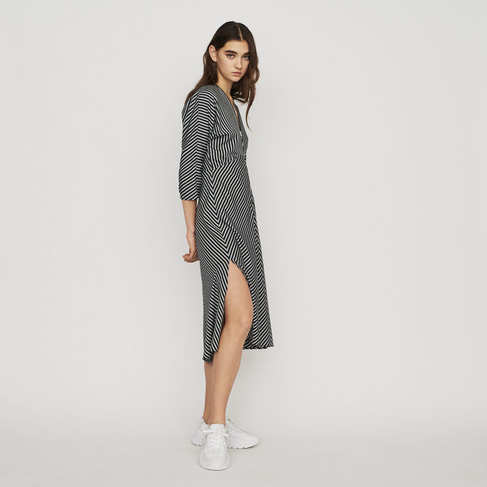 Robe midi zippée à rayures : Robes couleur Rayure
