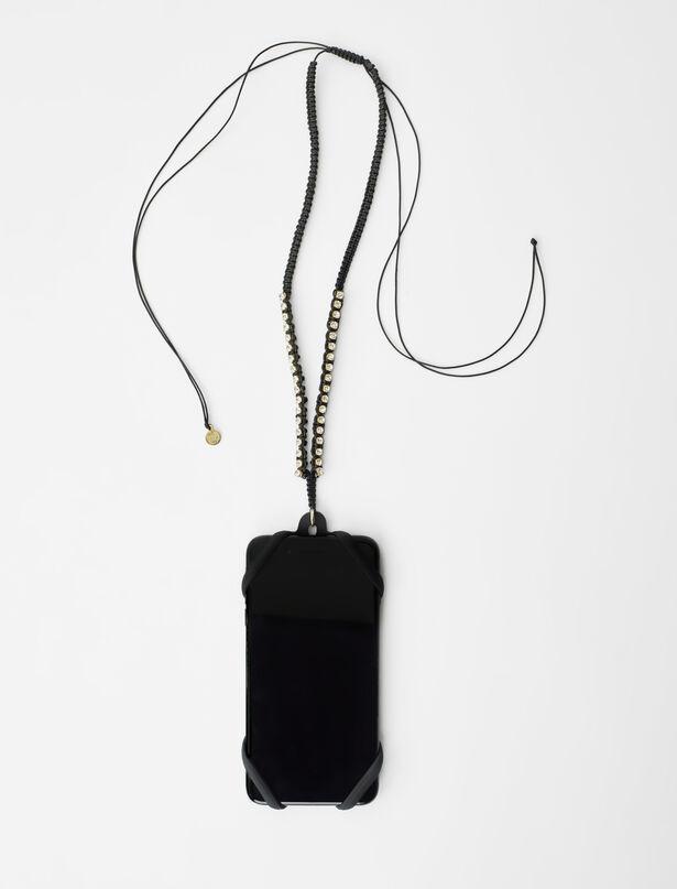 마쥬 MAJE Porte telephone cordon macrame et strass,Noir
