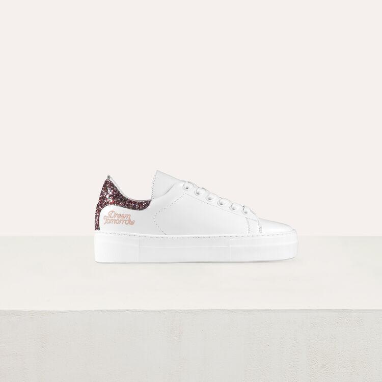 Baskets en cuir avec détail pailleté : Chaussures couleur Blanc